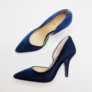 Michael Kors Blue Velvet Cut Out Heels